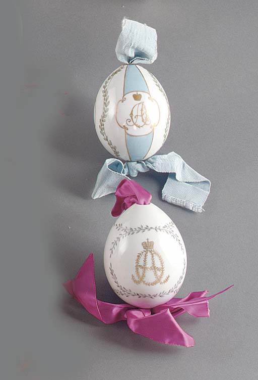 Two porcelain Easter eggs