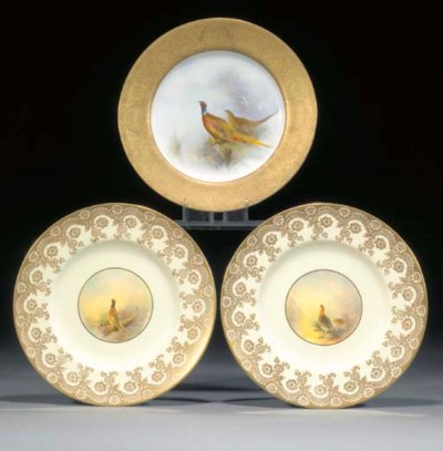 Three Royal Worcester plates