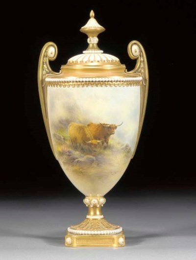 A Royal Worcester urn-shaped t