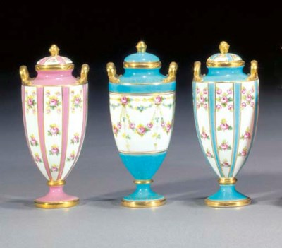 Three Minton slender urn-shape