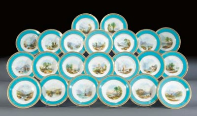 A Minton turquoise-ground part