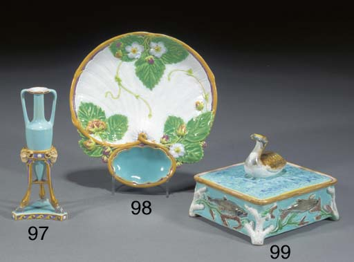 A Minton majolica turquoise-gr