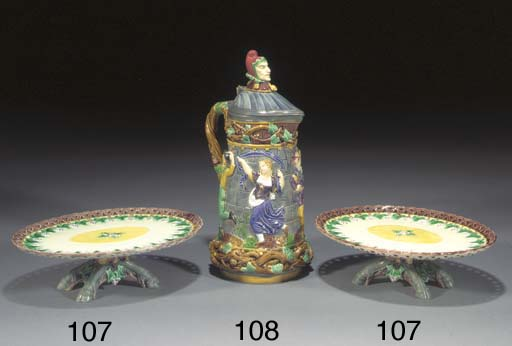A Minton majolica tower-jug an