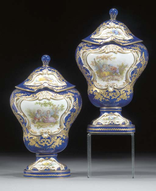 A pair of Sèvres-style dark-bl