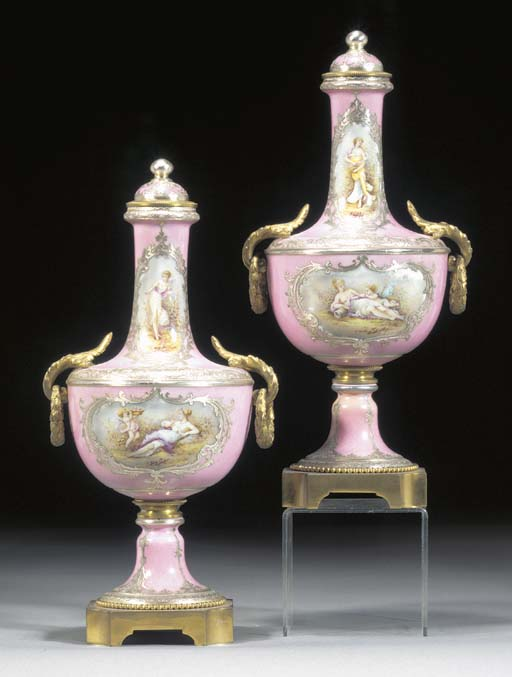 A pair of Sèvres-style pink-gr