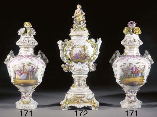 A pair of large German porcela