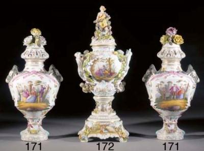 A large German porcelain two-h