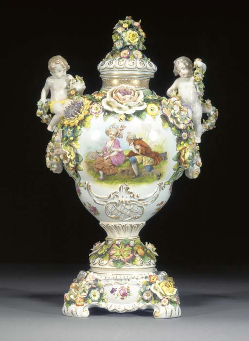 A German porcelain baluster va