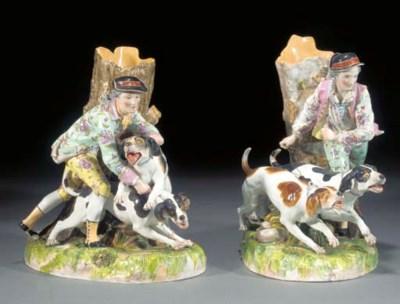 A pair of Dresden figural vase