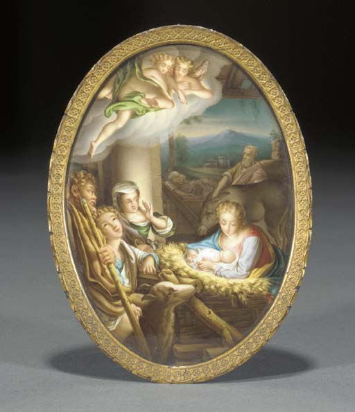 A Meissen oval plaque