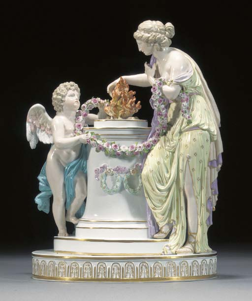 A Meissen allegorical group of