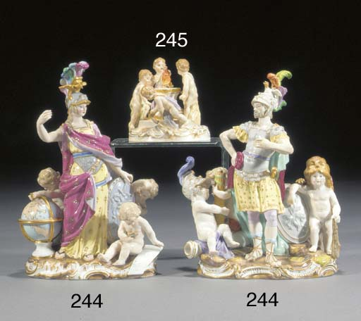 Two Meissen groups of Minerva