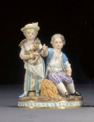 A Meissen allegorical group an