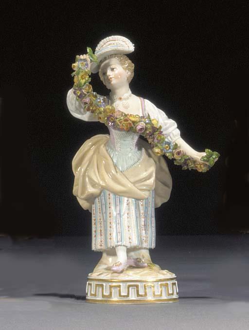 A Meissen figure of a young la
