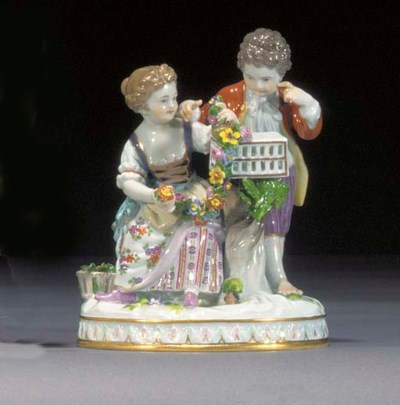 A Meissen group of a youth and