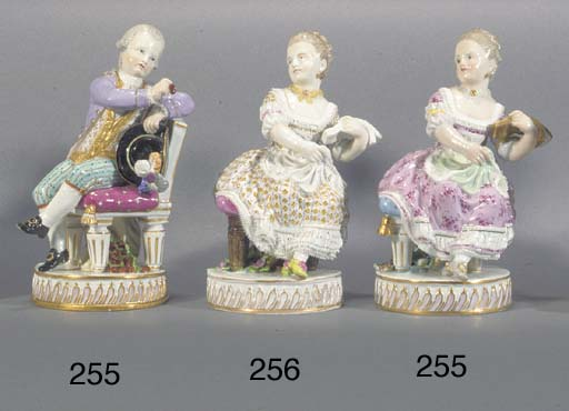 Two Meissen figures of a youth
