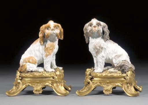 A pair of Meissen gilt-metal-m