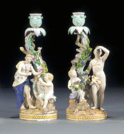Two Meissen candlestick groups