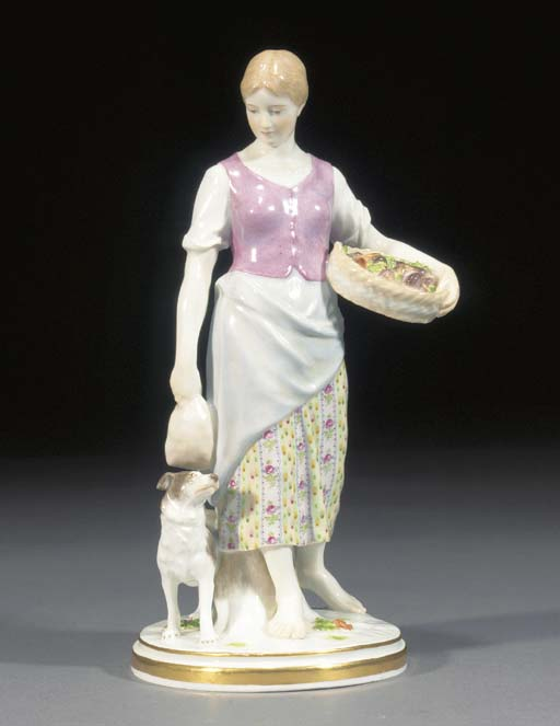 A Meissen figure of a farm gir