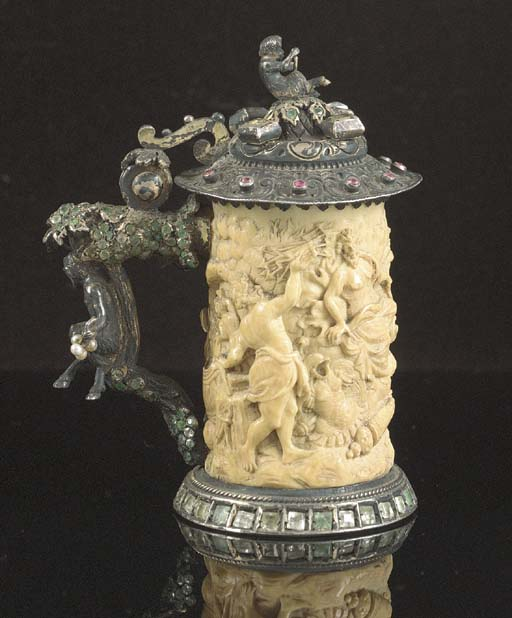 A silver-gilt mounted small ivory tankard