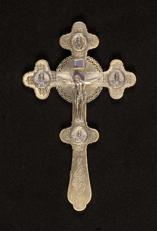 A silver gilt and enamel Cross