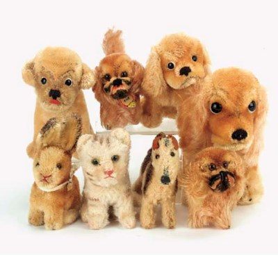 Steiff dogs, cats and rabbit