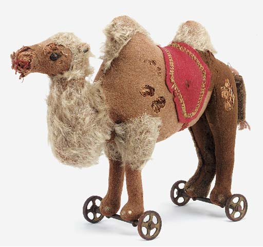 A Steiff Dromedary on wheels