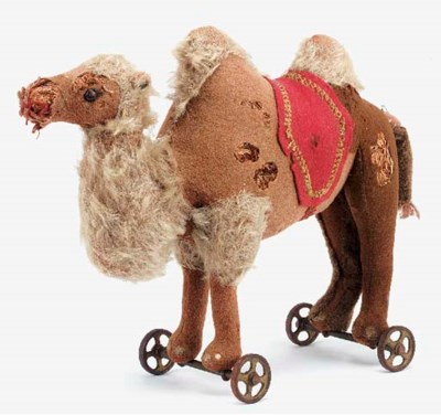 A Steiff Dromedary on wheels