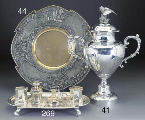A CHINESE SILVER TROPHY CUP AN