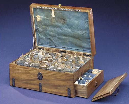 An unusual late 18th-Century Continental hardwood medicine chest,