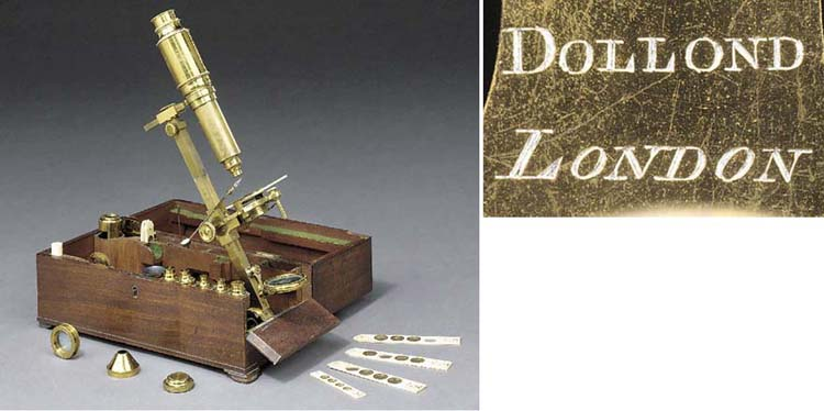 A fine late 18th/early 19th-Century lacquered-brass Cuff-type compound monocular microscope,