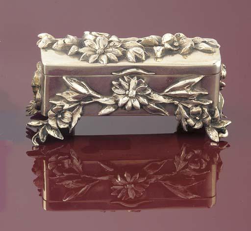 A silver triple stamp box,