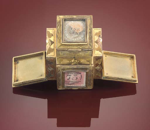 An ormolu six compartment stam