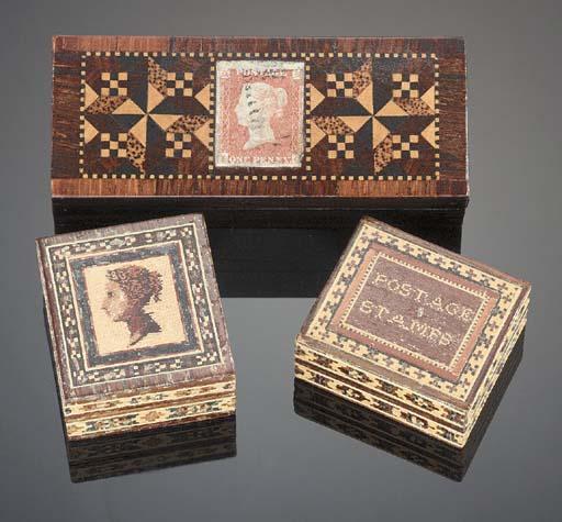 Three Tunbridgeware stamp boxe