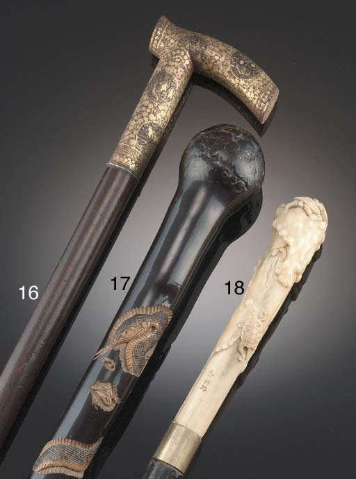 A Japanese stag-antler handled
