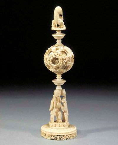 A Chinese ivory puzzle ball on