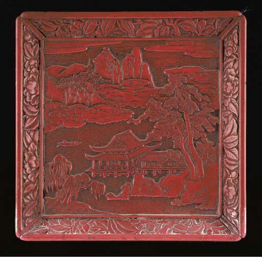 A Chinese cinnabar lacquer squ