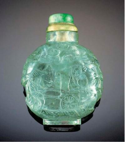 A pale aquamarine snuff bottle