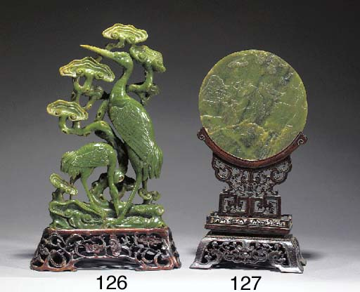 A Chinese spinach jade plaque