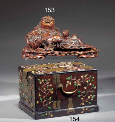 A Chinese wooden carving of an