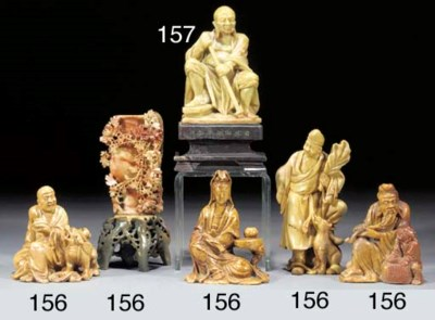 Four Chinese soapstone figures