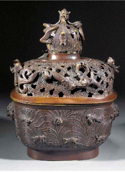 A Chinese large oval censer an