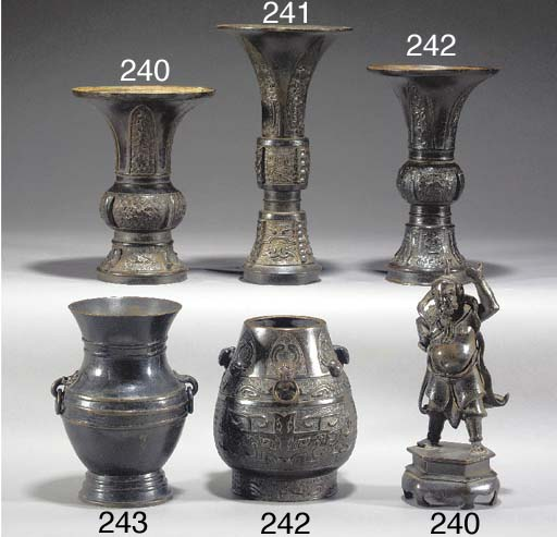 A Chinese bronze Gu-vase 15th/