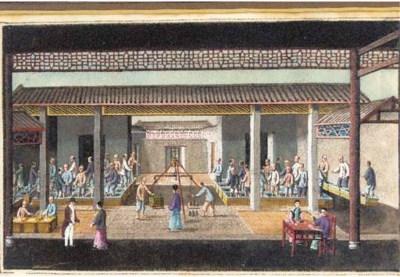 Nine Export ricepaper painting