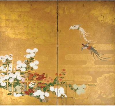 A Japanese two-fold screen 18t