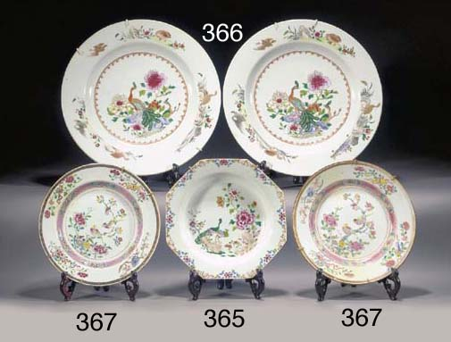 Three famille rose plates Qian