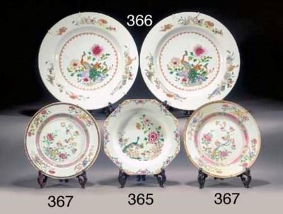 Three famille rose plates Qian