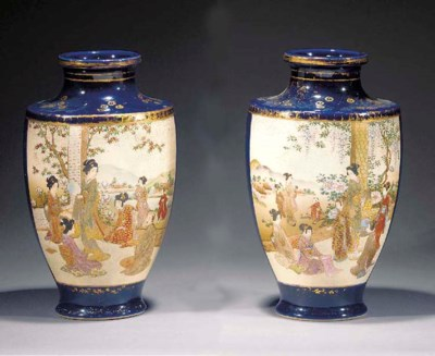 A pair of Satsuma vases Late 1