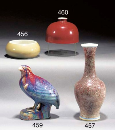 A Chinese flambe glazed model