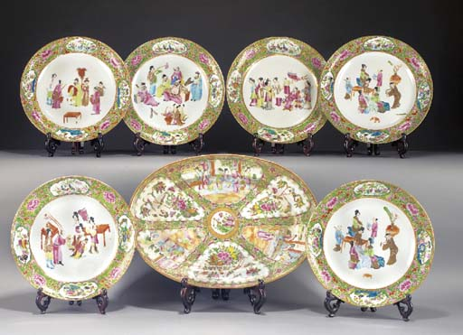A set of six Cantonese plates